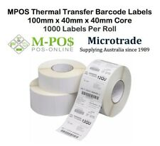 POS Barcode Labels 100mm x40mm x40mm core Thermal Transfer. 1000 labels per roll