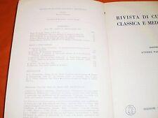 rivista di cultura classica e medievale  1,61