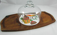 Vintage Teak Cheese Board w/ Retro Tile and Heavy Glass Dome