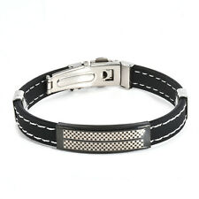 Men Black Silver Stainless Steel Wristband Bangle Boys Fashion Cuff Bracelet New