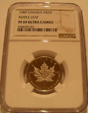 Canada 1989 Platinum 1/2 oz $20 NGC PF-69UC Maple Leaf Mintage - 1,999