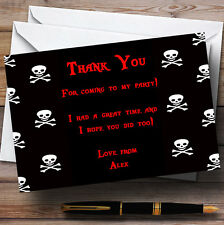Black Skull & Crossbones Pirate Personalised Children's Party Thank You Cards