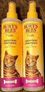 2 Bottles Burt's Bees Waterless Shampoo For Cats - With Apple & Honey - 10 OZ Ea