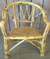 Vintage Mid-Century Tropical Tiki  Wicker & Bamboo Rattan Arm Chair child's doll
