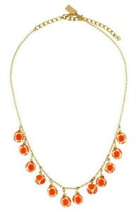 """Kate Spade """"Lady Marmalade"""" Coral Crystal Ball Charm Fringe Necklace,NWOT $128"""