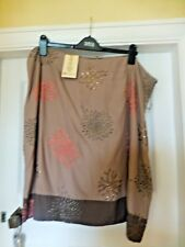 BNWT MONSOON HIBISCUS GREY LINED SKIRT EMBROIDERY & SEQUIN DETAIL SIZE 22