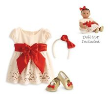 "American Girl BITTY BABY  CREAM & CRIMSON OUTFIT for 15"" Baby Dolls Clothes NEW"