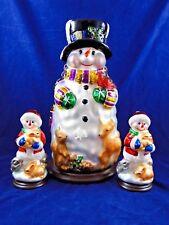 Thomas Pacconi Classics 30 Year Anniv. 3 Pc Blown Glass Snowman Set Christmas