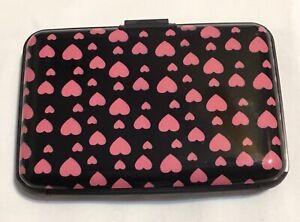 Pink Hearts on Black Credit Aluminium Card Holder.  UK.