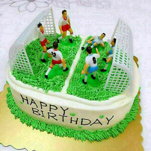8pcs/Set Soccer Football Cake Topper Player With Goal Gate Birthday Decoration