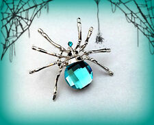 TURQUOISE BLUE SPIDER PIN BROOCH~WOMENS HALLOWEEN COSTUME ACCESSORY WITCH ZOMBIE