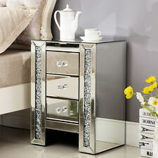 Mirrored Glass Bedside Table Cabinet with 3 Drawers & Crystal Handles Bedroom