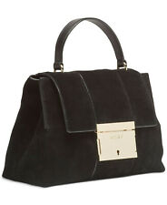 DKNY Adam Suede Leather Top Handle Satchel, Black