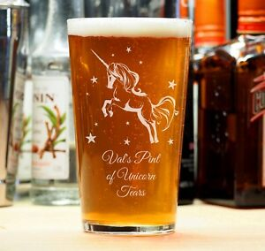 Personalised Engraved Beer Pint Unicorn Glass Birthday Girlfriend Present Gift