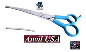 """TP/ANVIL PRO PET GROOMING CURVED 7.5"""" Safety/Blunt/Ball Tip/Nose SHEARS Scissors"""