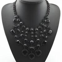 Black Glassteine Statementkette, Halskette,Collier Modeschmuck in schwarz neu