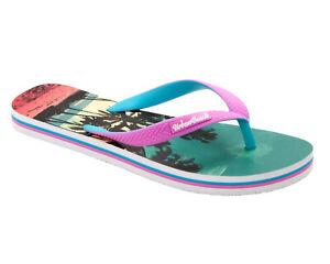 WOMENS URBAN BEACH PINK TROPICAL SUMMER BEACH FLIP FLOPS SANDALS LADIES SIZE 3-8