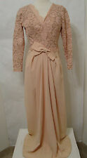 Vintage EMMA DOMB Peach Bias Cut Lace Long Sleeve Gown With Bow Trim 10
