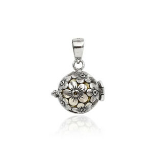 Floral Design Harmony Ball Chime Pendant with Chain 925 Sterling Silver 2.5 Cm