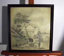 1841  Pencil Drawing very scenic & peaceful    Village,  Farmer, Cows