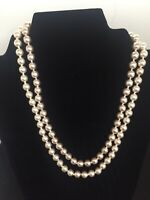 Vintage Faux Beige Creamy Pearl Multi-Strand Necklace 18""