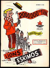 1963 October 19 CFL Football B C Lion vs Edmonton Eskimos unmarked nm Program