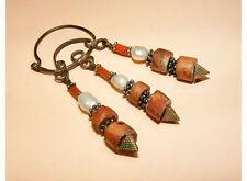 antik Orient nomaden Silber Ohrringe korallen afghan turkmen silver earring -191