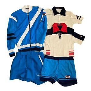 Vintage Fila Bjorn Borg Clothing Lot Tennis Polos Adidas 70s Shorts Tops Size 38