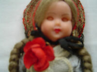 "Vintage1950's Doll switzerland St Gallen Character Doll 7.3/4"" Tall. With Lace"