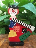 Unique Vintage Wooden Colorful Flat Clown - People's Republic of China