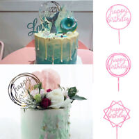 1pc Party Supplies Birthday Happy Birthday Acrylic Cake Topper Glitter Pink