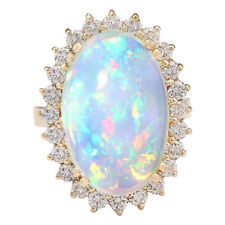 9.18 Carat Natural Multicolor Opal and Diamond 14K Yellow Gold Cocktail Ring