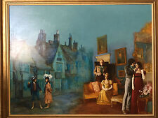 "oil painting original"" gower street"" illustration by stuart kaufman 1926-2008"