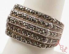 Sterling Silver Vintage 925 Cocktail Marcasite Ring Sz 8 (9.8g) - 745284