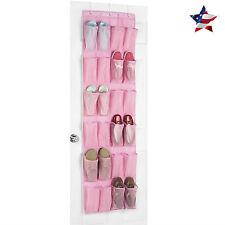 Over the Door Shoe Organizer Rack Closet Hanging Storage Holder Shoes Pink