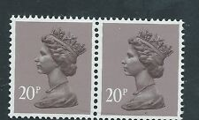 Gb unused Sg x1014, Scott Mh113 20p dull purple phosphor paper Machin pair Mnh