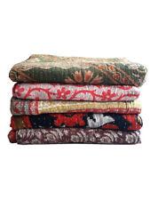 Indian Vintage Kantha Quilt Cotton Handmade Bedspreads Boho Blanket Bed Cover