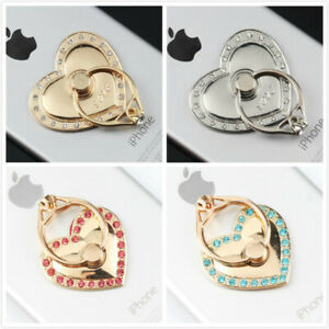 Heart Diamond Gold Universal Rotating Finger Ring Stand Holder For Cell Phone