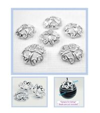 925 Solid Sterling Silver 8mm Large Bright 4 Heart Bead Caps  50pcs #5405-3
