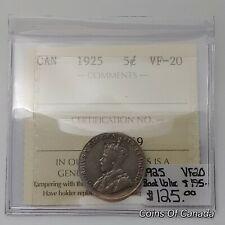 1925 Canada 5 Cents RARE ICCS VF-20 Book Value $175 #coinsofcanada