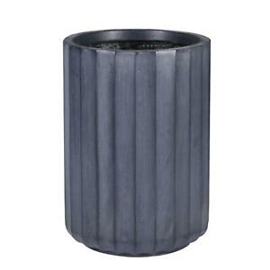 IDEALIST Modern Ribbed Cylinder Round Outdoor Planter with Drainage Hole