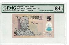 Nigeria Binary Serial # 0001111  5 Naira 2011 Pick# 38c PMG 64 EPQ (#PL944)