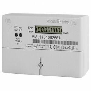 Emlite ECA2 100a Single Phase Meter Watt Electric Pulse Reading MID 230v kWh
