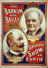 Le barnum et bailey greatest show on earth 7x5 pouces réimpression d'affiche cirque
