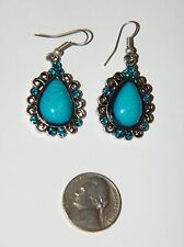 Lot of 4 pairs Filigree Earrings Faux Turquoise Blue & Purple Glass 4 Styles NEW