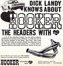 1968 DODGE CHARGER PRO STOCK DRAG RACING / DICK LANDY ~ SMALL HOOKER HEADER AD