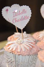 PERSONALISED CHRISTENING TOPPERS 40 CONFIRMATION CUPCAKE TOPPERS DECORATIONS
