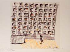 """Federico Fellini Hand Signed Art Lithograph, """"Il Casanova  Il Teatro Di Dresda """""""
