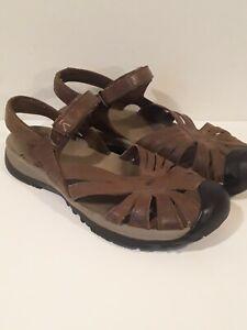 Keen Women's Rose Sandal Casual Sandal Brown Leather Sz 10.5 hook&loop