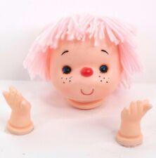 "Vintage Westrim Crafts Mitzy 4"" Doll Head + Hands Yarn Hair Pink"
